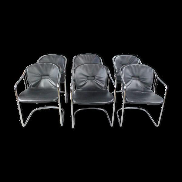 Set de 6 chaises en métal et cuir 1970s