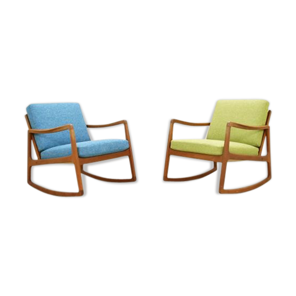 Selency Paire de rocking chair par Ole Wanscher pour France & Søn, 1950s