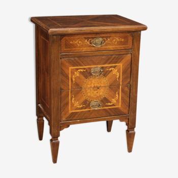 Table de chevet incrustée dans le style Louis XVI