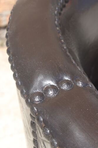 Fauteuil vis à vis dit confident en bois et cuir fin XIXème