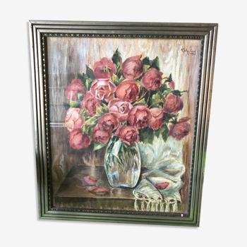 Aquarelle bouquet de roses par K.Schuler datée 1941