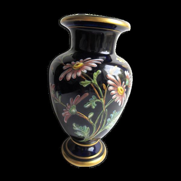 Vase balustre ceramique bleu de four emaille de fleurs-et-d-039-ois