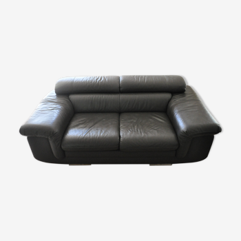 Canapé 2 places en cuir vachette gris anthracite