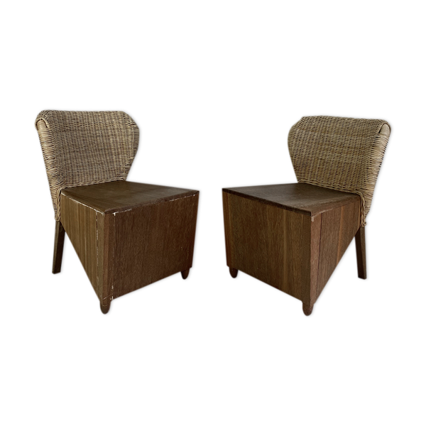 Paire de fauteuils en bois et osier vintage, 50's