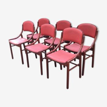 Lot de chaises Baumann rares bois courbé et skai