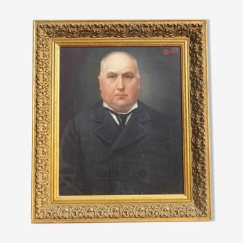 Tableau antique portrait homme notable huile sur toile 19 eme siècle signe Regnault