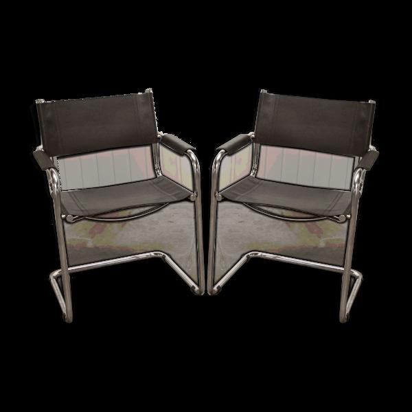 Paire de fauteuils vintage 1987 cuir noir