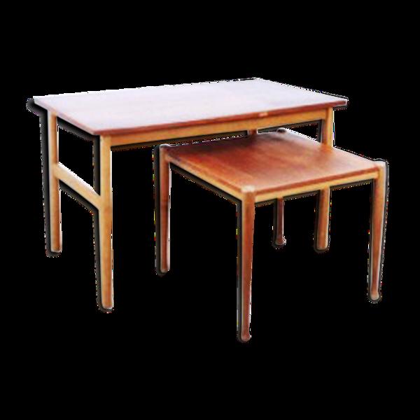 Jeu de tables basse gygogne en teck, 1960