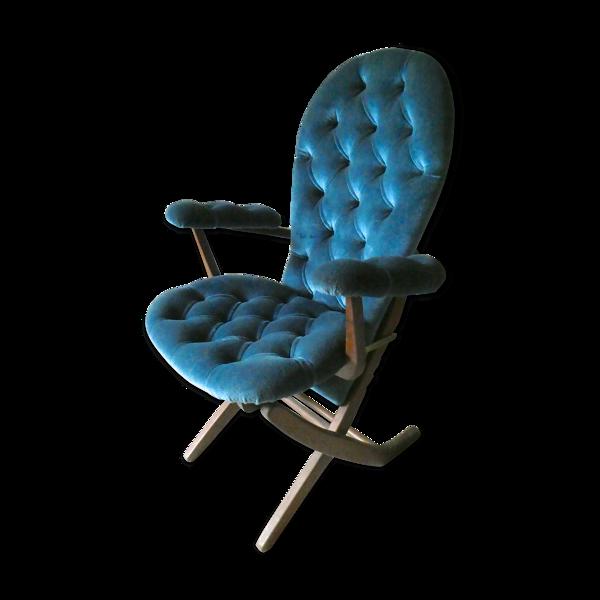 Fauteuil 4 positions en velours capitonné bleu, années 60