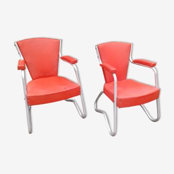 Paire de fauteuils en skaï