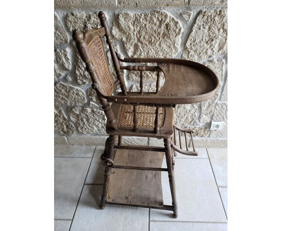 High cane chair that can be transformed into wood