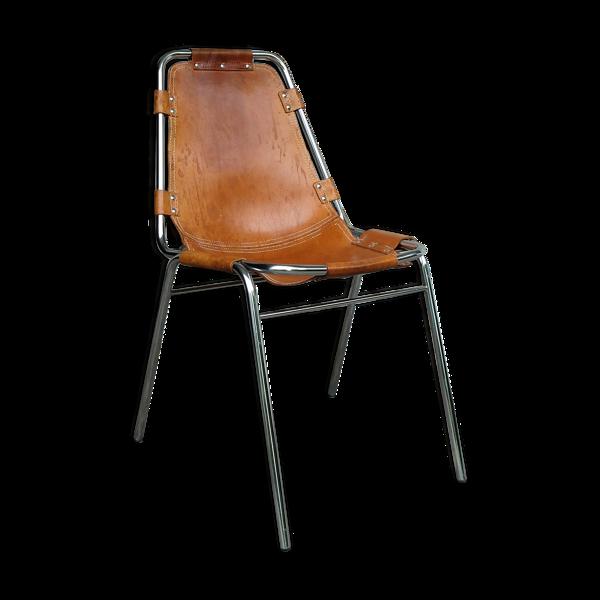 Chaise Vintage Les Arcs en cuir, éditée par Dal Vera