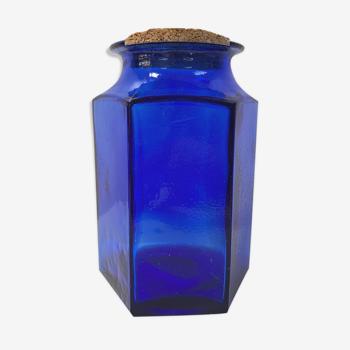 Pot d'épicerie XXL en verre bleu cobalt
