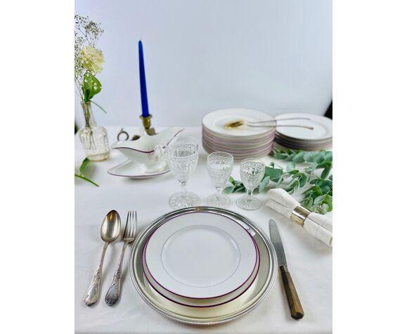 6 assiettes porcelaine haviland or et fushia
