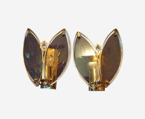 Paire d'appliques des années 80 en métal doré et verre
