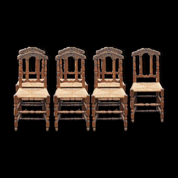 Selency Suite de 7 chaises campagnardes paillées en chêne