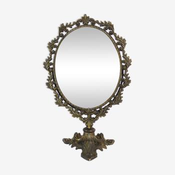 Ancien miroir psyché de table en bronze ou laiton, style louis xv. année 50