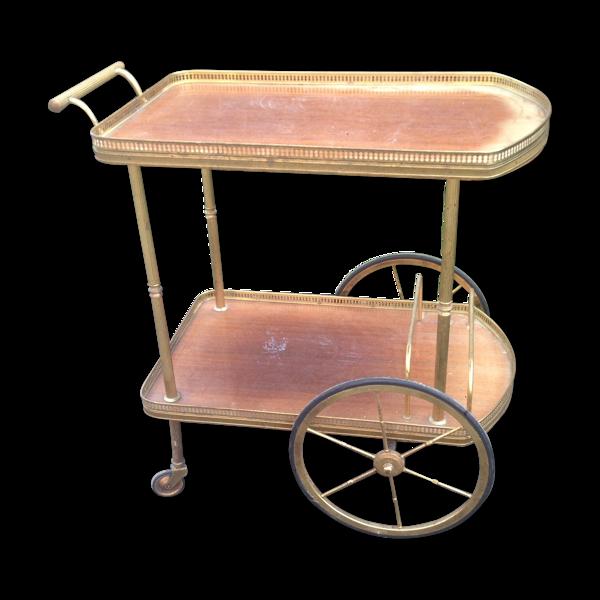 Bar à roulettes vintage en acajou vernis et laiton