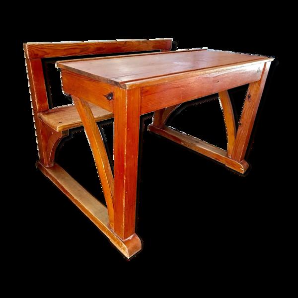 Bureau écolier vintage avec banc  intégré