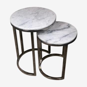 Table gigogne en acier chromé dessus marbre vintage 80'S