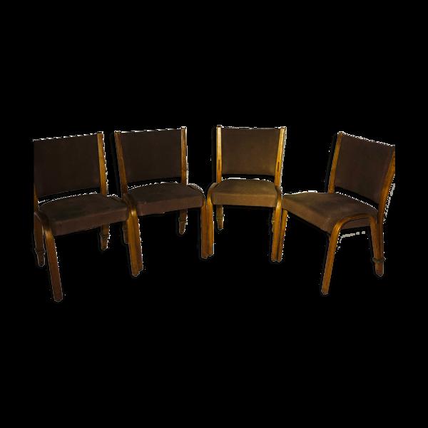 Suite de 4 chaises Bow-wood 1960