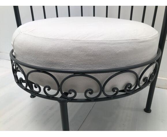 Salon canapé demi lune fer forgé vintage