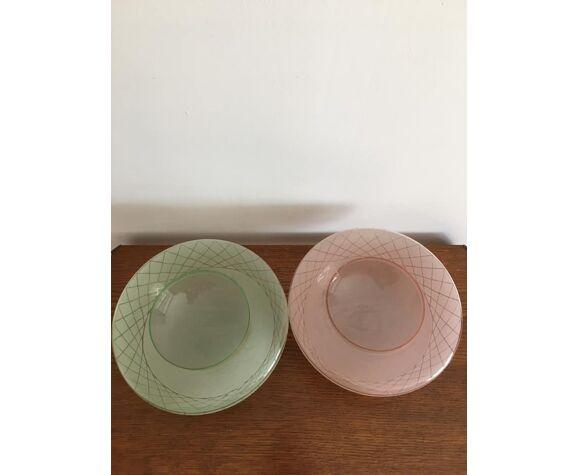 Duo de plafonniers en verre granité rose et vert avec motifs quadrillés