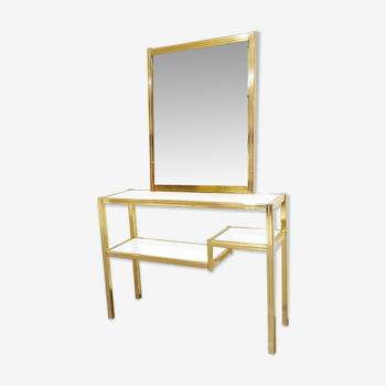 Table de console en laiton avec miroir, années 70