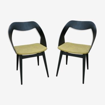 Paire de chaises de Louis Paolozzi pour Zol en bois et Skaï, années 50