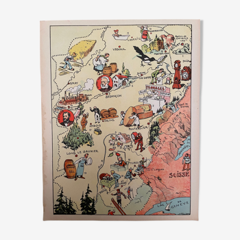 Affiche ancienne carte de la Franche Comté - JP Pinchon