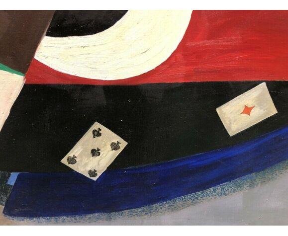 Tableau peinture cubiste grand format XXe