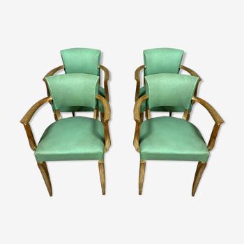 Série de 4 fauteuils bridge époque Art Déco en chêne asiatique vers 1930-1940