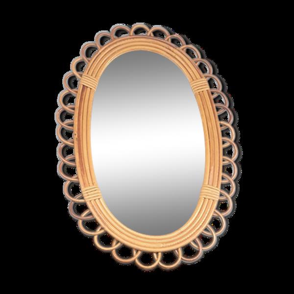 Miroir rotin ovale 40x59cm