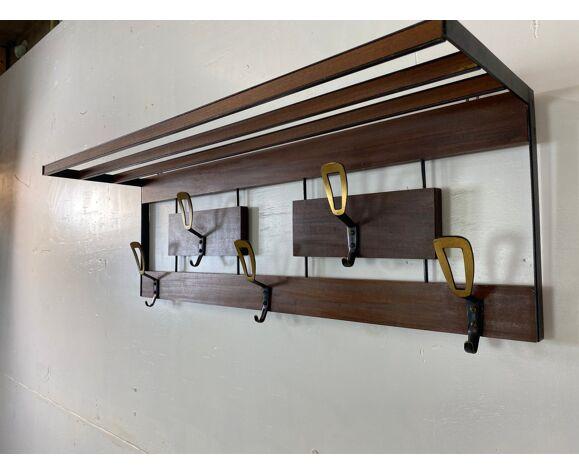 Portemanteau moderniste en laiton teck & métal 1950s