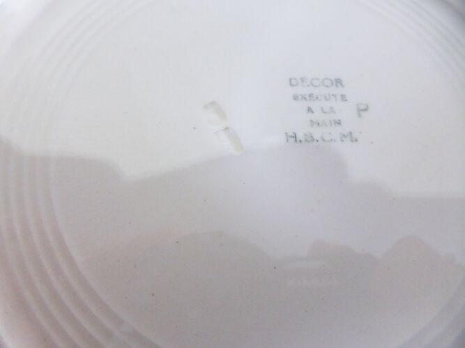 4 assiettes plates vintage de la manufacture d'HBCM