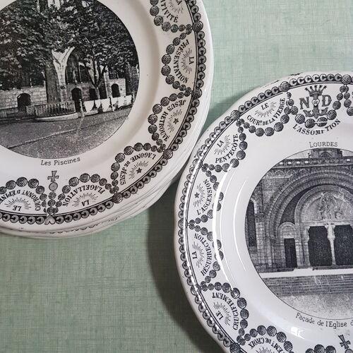 "9 assiettes Digoin & Sarreguemines ""Lourdes"""
