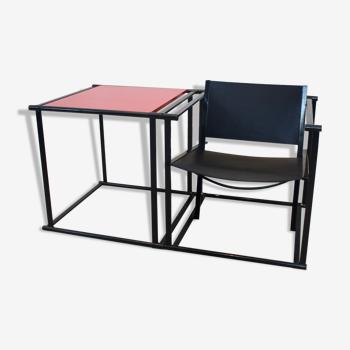 Fm62 chaise longue cubique en cuir et table assortie par radboud van beekum pour pastoe, design néerlandais