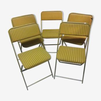 Série de 5 chaises Lafuma pliantes dorés vers 1960