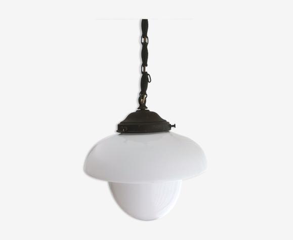 Vintage danish modern opal glass white ceiling lamp 1950s