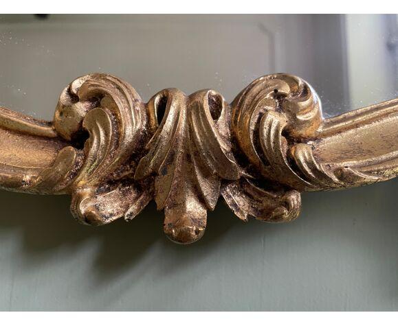 Miroir coquille en résine doré 46x75cm