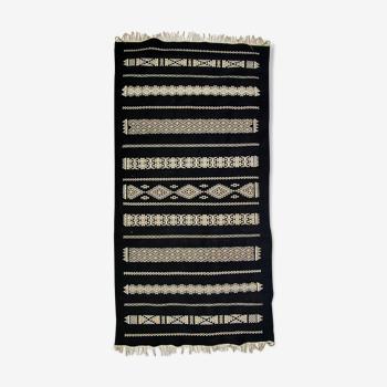 Tapis kilim oriental en pure laine noir 100cm x200cm