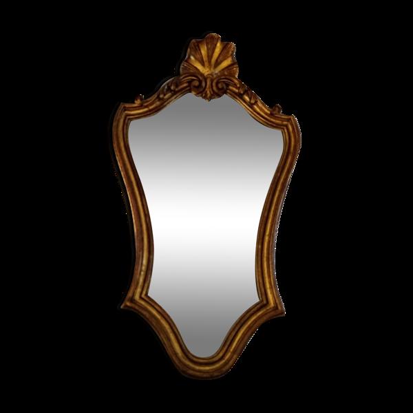 Miroir doré style Louis XV rocaille 56,5 x 33 cm