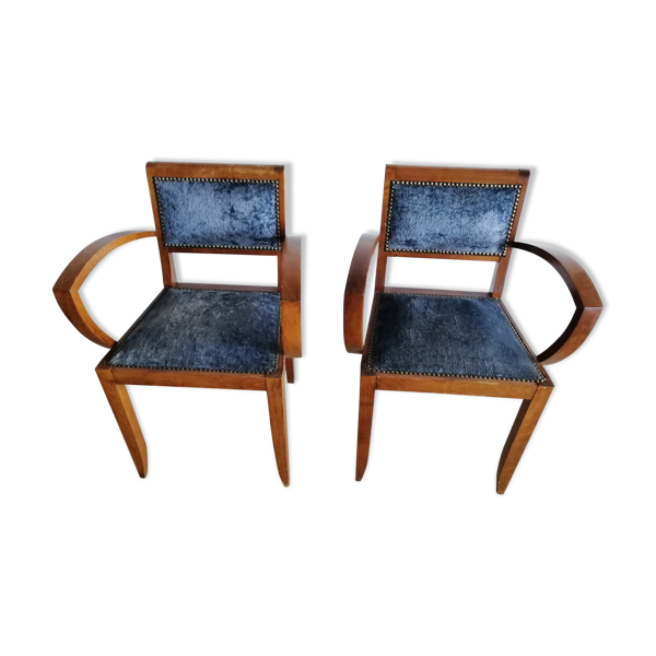 Paire de fauteuils bridge années 50 en chêne et velours bleu