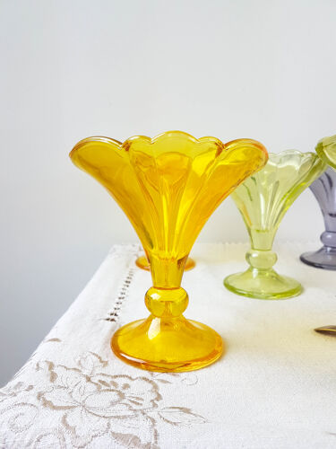 Lot de 8 coupes à glace en verre multicolore rastal vintage
