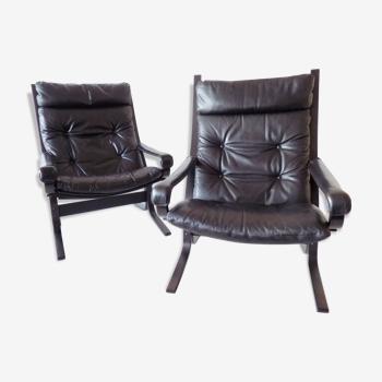 Ensemble westnofa siesta de 2 chaises longues en cuir noir par ingmar relling