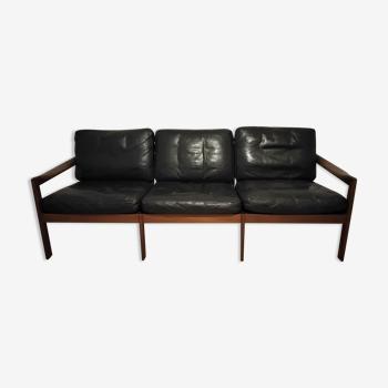 Teak & Black leather sofa by Illum Wikkelso, Denmark 1960