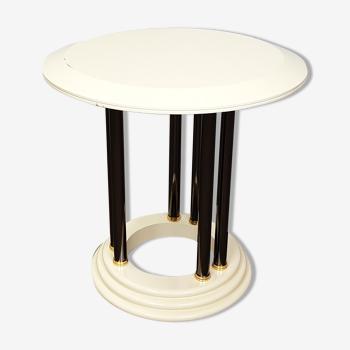 Table basse blanche et chrome années 70