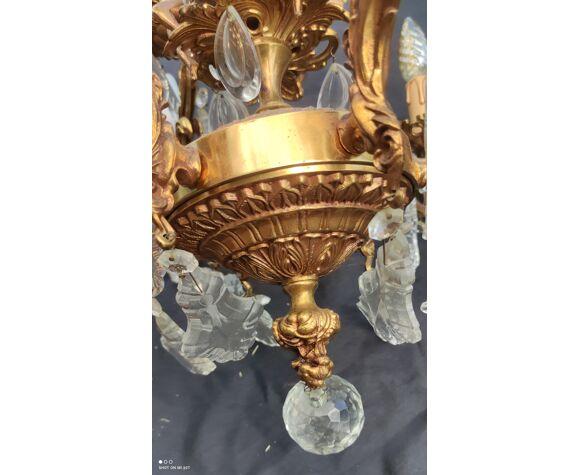 Lustre en bronze pampilles et décor anges