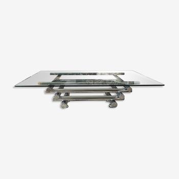 Table basse des années 70 verre et chrome
