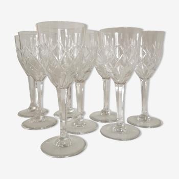 Service de 8 verres à vin en cristal de Bohème